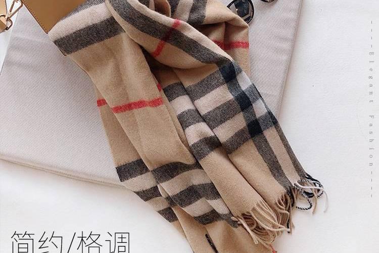 【限时抢购】出口日本订单 100%绵羊毛大格子围巾披肩(礼盒装) 驼色格子 197*67cm